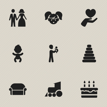 Set Of 9 Editable Family Icons. Includes Symbols Such As Dad, Locomotive, Heart And More.