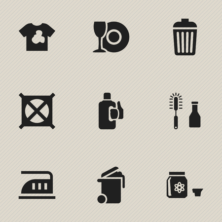 smoothing: Set Of 9 Editable Cleanup Icons. Includes Symbols Such As Trash, Hazard, Iron And More.