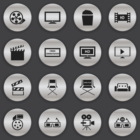genre: Set Of 16 Editable Filming Icons. Includes Symbols Such As Theater Agency, Shooting Seat, Couch And More. Can Be Used For Web, Mobile, UI And Infographic Design. Stock Photo