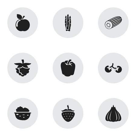 Set Of 9 Editable Vegetable Icons. Includes Symbols Such As Cherry, Onion, Pecan And More. Can Be Used For Web, Mobile, UI And Infographic Design. Vektoros illusztráció