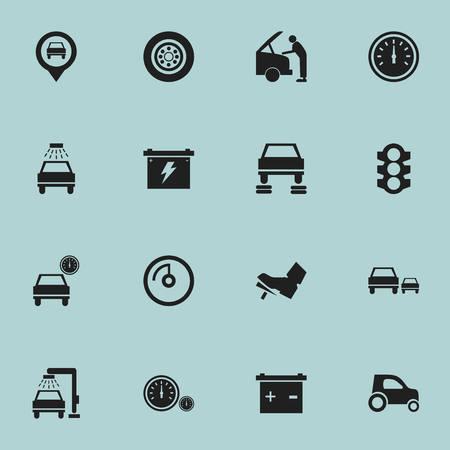 stoplight: Set Of 16 Editable Traffic Icons. Includes Symbols Such As Battery, Stoplight, Speed Display And More. Can Be Used For Web, Mobile, UI And Infographic Design.
