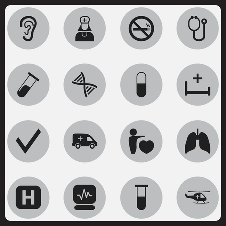 hospitalization: Set Of 16 Editable Clinic Icons. Includes Symbols Such As Respiratory Organ, Listen, Emergency And More. Can Be Used For Web, Mobile, UI And Infographic Design. Illustration