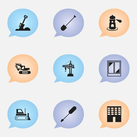 Set Of 9 Editable Construction Icons. Includes Symbols Such As Spade, Seamark, Excavation Machine And More. Can Be Used For Web, Mobile, UI And Infographic Design.