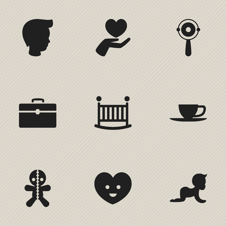 Set Of 9 Editable Folks Icons. Includes Symbols Such As Child Cot, Portfolio, Soul And More. Can Be Used For Web, Mobile, UI And Infographic Design. Imagens - 75636042