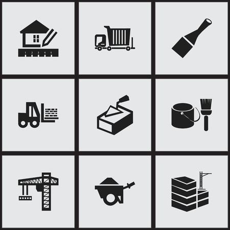 bogie: Set Of 9 Editable Structure Icons. Includes Symbols Such As Bogie, Trolley, Spatula And More. Illustration