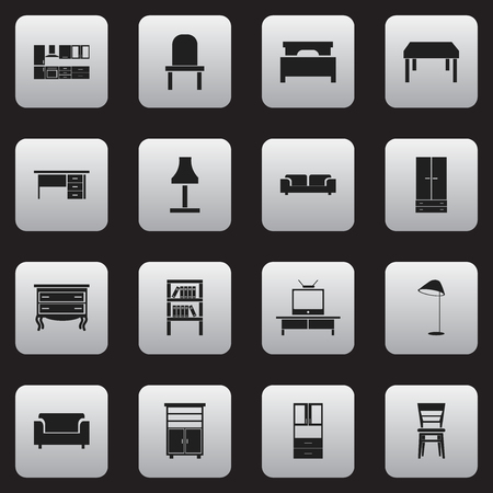 furnishings: Set Of 16 Editable Interior Icons. Includes Symbols Such As Tv, Wardrobe, Couch And More. Can Be Used For Web, Mobile, UI And Infographic Design.