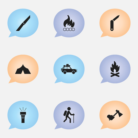 Set Of 9 Editable Travel Icons. Includes Symbols Such As Ax, Blaze, Clasp-Knife And More. Can Be Used For Web, Mobile, UI And Infographic Design.