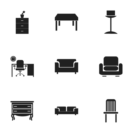 Set Of 9 Editable Home Icons. Includes Symbols Such As Wooden Table, Recliner, Commode And More.