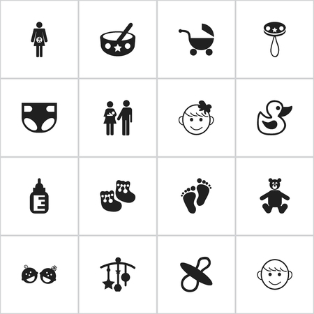 Set Of 16 Editable Kid Icons. Includes Symbols Such As Footmark, Rattle, Cheerful Child And More. Can Be Used For Web, Mobile, UI And Infographic Design. Illustration