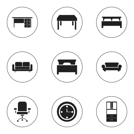 furnishings: Set Of 9 Editable Furnishings Icons. Includes Symbols Such As Canape, Stillage, Wooden Table And More. Can Be Used For Web, Mobile, UI And Infographic Design.