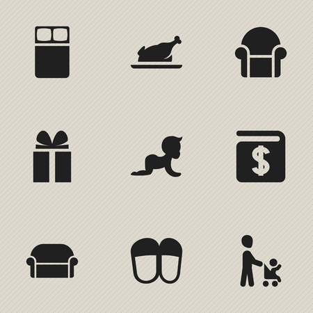 Set Of 9 Editable Folks Icons. Includes Symbols Such As Grandson, Fried Chicken , Canape. Can Be Used For Web, Mobile, UI And Infographic Design. Imagens - 75659070