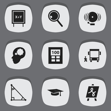 tabulation: Set Of 9 Editable Education Icons. Includes Symbols Such As Handglass, Triangle , Blackboard. Can Be Used For Web, Mobile, UI And Infographic Design. Illustration