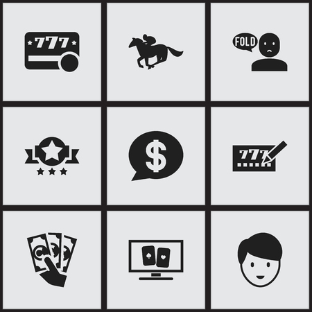 contemplate: Set Of 9 Editable Gambling Icons. Includes Symbols Such As Bucks, Thinking Man, Dollar And More. Can Be Used For Web, Mobile, UI And Infographic Design. Illustration
