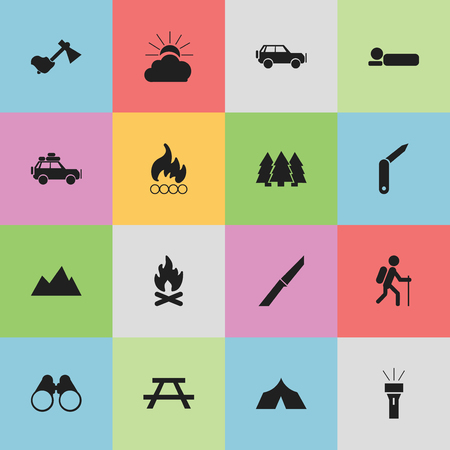 gait: Set Of 16 Editable Trip Icons. Includes Symbols Such As Knife, Gait, Bedroll And More. Can Be Used For Web, Mobile, UI And Infographic Design. Illustration