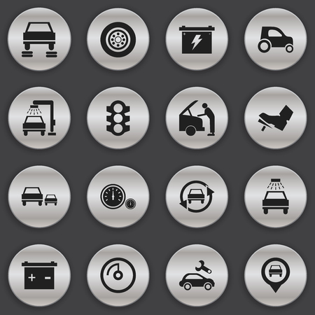 treadle: Set Of 16 Editable Transport Icons. Includes Symbols Such As Treadle, Stoplight, Automotive Fix And More. Can Be Used For Web, Mobile, UI And Infographic Design.