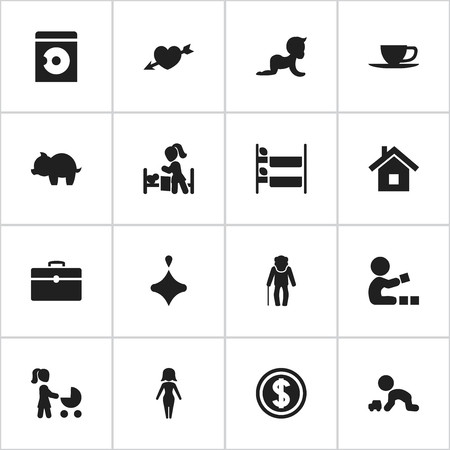 Set Of 16 Editable Folks Icons. Includes Symbols Such As Love, Laundress, Greenback And More. Can Be Used For Web, Mobile, UI And Infographic Design.
