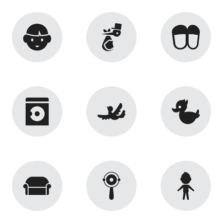 Set Of 9 Editable Folks Icons. Includes Symbols Such As Boy, Rattle, Home Shoes And More. Can Be Used For Web, Mobile, UI And Infographic Design. Illustration