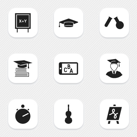 tabulation: Set Of 9 Editable School Icons. Includes Symbols Such As Tabulation, Fiddle, Diplomaed Male And More. Can Be Used For Web, Mobile, UI And Infographic Design. Illustration