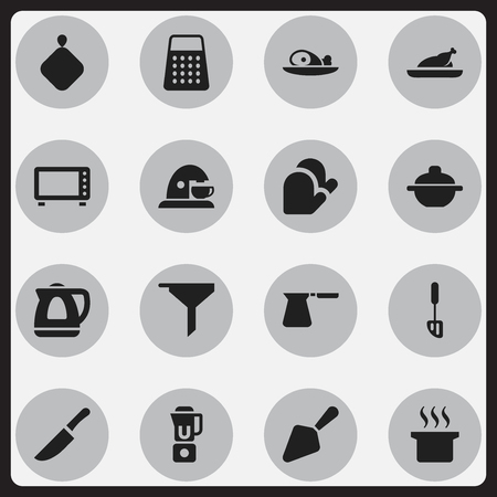 originator: Set Of 16 Editable Cook Icons. Includes Symbols Such As Food Shovel, Knife, Shredder And More. Can Be Used For Web, Mobile, UI And Infographic Design. Illustration