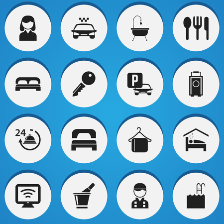unblock: Set Of 16 Editable Motel Icons. Includes Symbols Such As Unblock Access, Transport Car, Baggage And More. Can Be Used For Web, Mobile, UI And Infographic Design.