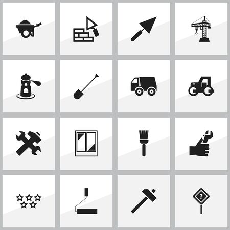Set Of 16 Editable Construction Icons. Includes Symbols Such As Renovation, Lorry, Plastering And More. Can Be Used For Web, Mobile, UI And Infographic Design. Illusztráció