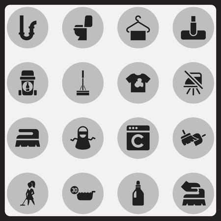 Set Of 16 Editable Hygiene Icons. Includes Symbols Such As Kitchen Clothing, Hoover, Laundress And More. Can Be Used For Web, Mobile, UI And Infographic Design. Illustration