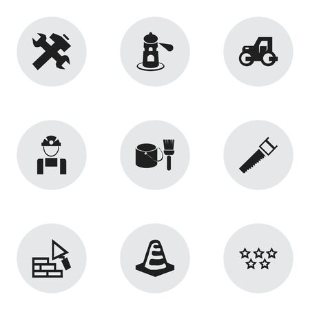 sea saw: Set Of 9 Editable Structure Icons. Includes Symbols Such As Brush With Bucket, Employee, Notice Object And More. Can Be Used For Web, Mobile, UI And Infographic Design. Illustration