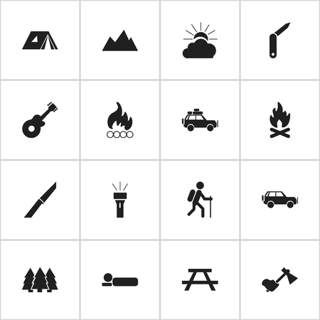 settle: Set Of 16 Editable Travel Icons. Includes Symbols Such As Bedroll, Ax, Sport Vehicle And More. Can Be Used For Web, Mobile, UI And Infographic Design.