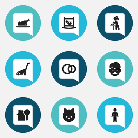 Set Of 9 Editable Family Icons. Includes Symbols Such As Fried Chicken, Grass Cutting Machine, Hoop And More. Can Be Used For Web, Mobile, UI And Infographic Design. Ilustração