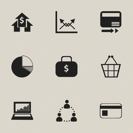 logical: Set Of 9 Editable Statistic Icons. Includes Symbols Such As Trading Purse, Money Bag, Pay Redeem And More. Can Be Used For Web, Mobile, UI And Infographic Design.