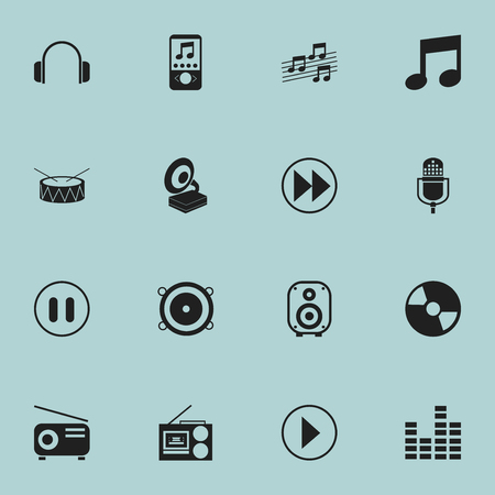 drumming: Set Of 16 Editable Melody Icons. Includes Symbols Such As Phonograph, Snare, Cassette Player And More. Can Be Used For Web, Mobile, UI And Infographic Design. Illustration