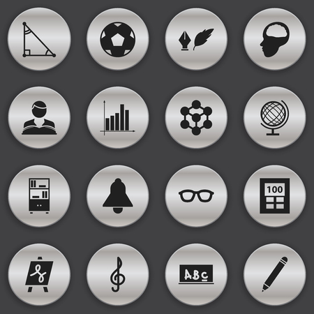 tabulation: Set Of 16 Editable Education Icons. Includes Symbols Such As Tabulation, Triangle, Bell And More. Can Be Used For Web, Mobile, UI And Infographic Design.