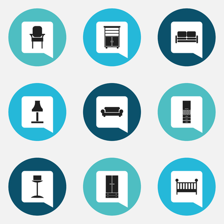 stool: Set Of 9 Editable Interior Icons. Includes Symbols Such As Enlightenment, Canape, Material Cupboard And More. Can Be Used For Web, Mobile, UI And Infographic Design.