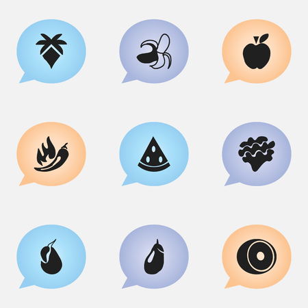 petiole: Set Of 9 Editable Dessert Icons. Includes Symbols Such As Avocado, Paprika, Eggplant And More. Can Be Used For Web, Mobile, UI And Infographic Design. Illustration