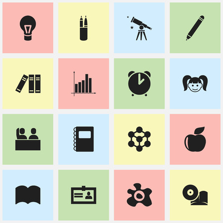 Set Of 16 Editable Science Icons. Includes Symbols Such As Fresh Fruit, Student, Omelette And More. Can Be Used For Web, Mobile, UI And Infographic Design. Ilustração