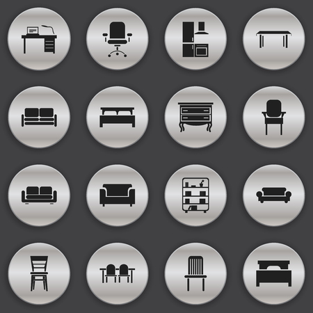 furnishings: Set Of 16 Editable Furnishings Icons. Includes Symbols Such As Cuisine, Bed, Divan And More. Can Be Used For Web, Mobile, UI And Infographic Design. Illustration