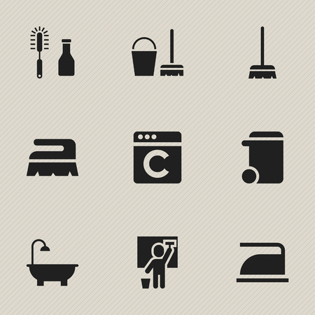 cleaning service: Set Of 9 Editable Cleanup Icons. Includes Symbols Such As Sweep, Cleaning Man, Bathroom And More. Can Be Used For Web, Mobile, UI And Infographic Design. Illustration