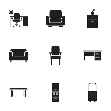 furnishings: Set Of 9 Editable Home Icons. Includes Symbols Such As Stool, Stillage, Plant Pot And More. Can Be Used For Web, Mobile, UI And Infographic Design.