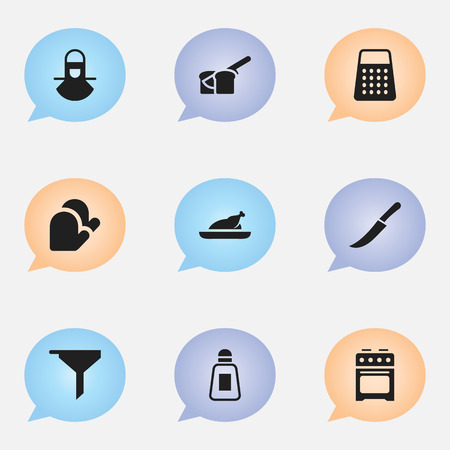 Set Of 9 Editable Cook Icons. Includes Symbols Such As Sword, Bakery, Kitchen Glove And More. Can Be Used For Web, Mobile, UI And Infographic Design.