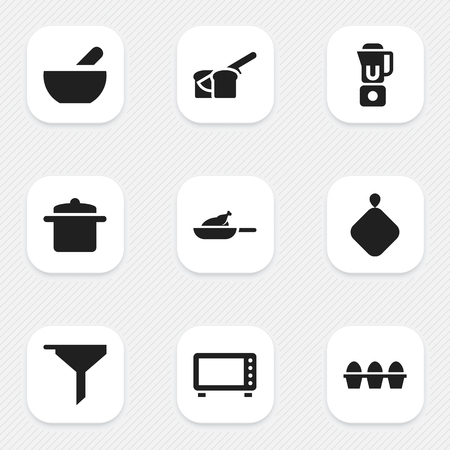 Set Of 9 Editable Meal Icons. Includes Symbols Such As Bakery, Hand Mixer, Egg Carton. Can Be Used For Web, Mobile, UI And Infographic Design. Illustration