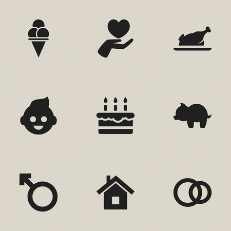 mother and baby: Set Of 9 Editable Relatives Icons. Includes Symbols Such As Patisserie, Home, Fried Chicken And More. Can Be Used For Web, Mobile, UI And Infographic Design.