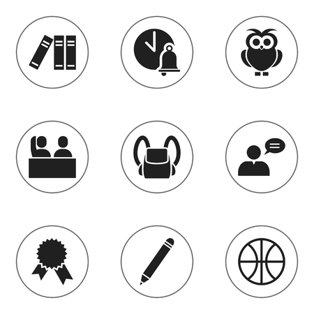 Set Of 9 Editable Education Icons. Includes Symbols Such As Victory Medallion, Bookshelf, Pencil And More. Can Be Used For Web, Mobile, UI And Infographic Design.