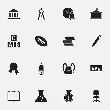 literature: Set Of 16 Editable Graduation Icons. Includes Symbols Such As Oval Ball, Victory Medallion, Schoolbag And More. Can Be Used For Web, Mobile, UI And Infographic Design. Illustration