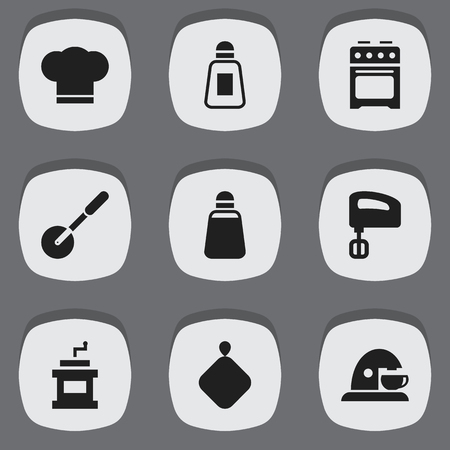 pepper grinder: Set Of 9 Editable Food Icons. Includes Symbols Such As Mocha Grinder, Agitator, Stove And More. Can Be Used For Web, Mobile, UI And Infographic Design. Illustration