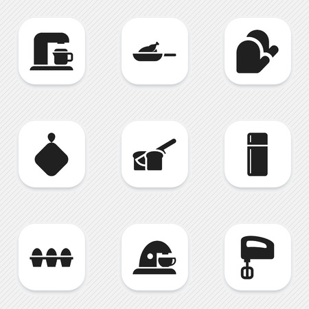 originator: Set Of 9 Editable Food Icons. Includes Symbols Such As Drink Maker, Grill, Cup And More. Can Be Used For Web, Mobile, UI And Infographic Design.