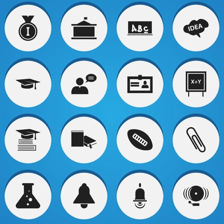 Ensemble de 16 icônes de science modifiables. Comprend des symboles tels que Bell, Blackboard, Staple And More. Peut être utilisé pour la conception Web, mobile, UI et infographique.