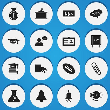 baccalaureate: Set Of 16 Editable Science Icons. Includes Symbols Such As Bell, Blackboard, Staple And More. Can Be Used For Web, Mobile, UI And Infographic Design.