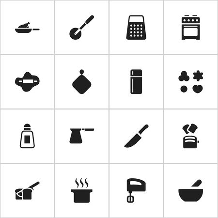 Set Of 16 Editable Meal Icons. Includes Symbols Such As Shortcake, Refrigerator, Coffee Pot And More. Can Be Used For Web, Mobile, UI And Infographic Design.