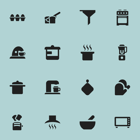 originator: Set Of 16 Editable Meal Icons. Includes Symbols Such As Soup, Soup Pot, Hand Mixer. Can Be Used For Web, Mobile, UI And Infographic Design.