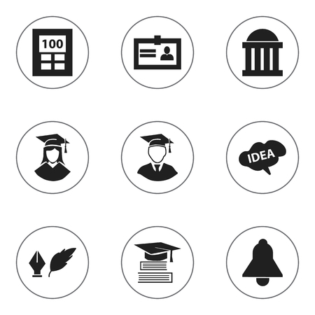 baccalaureate: Set Of 9 Editable Education Icons. Includes Symbols Such As Calculator, Education, Graduated Female And More. Can Be Used For Web, Mobile, UI And Infographic Design. Illustration